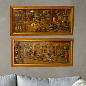 LARGE MidCentury Turner 3D Resin Early American Scene Shadow Box Wall Decor Set